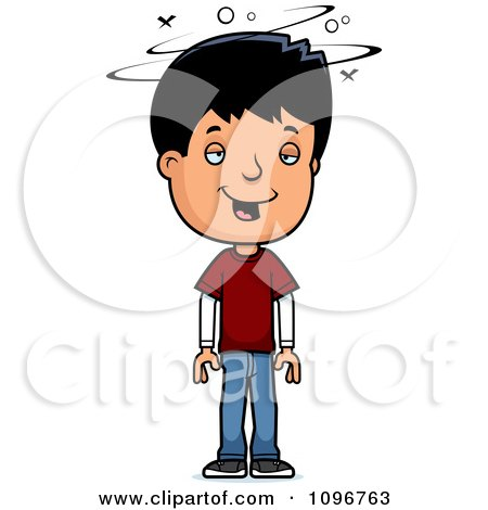 cartoon clipart of a black and white stressed adolescent