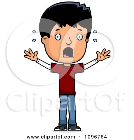 Clipart Scared Adolescent Teenage Boy - Royalty Free Vector Illustration by Cory Thoman