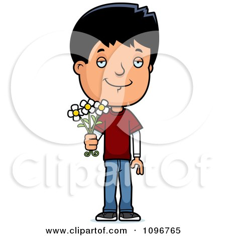 Clipart Adolescent Teenage Boy Holding Out Flowers - Royalty Free Vector Illustration by Cory Thoman
