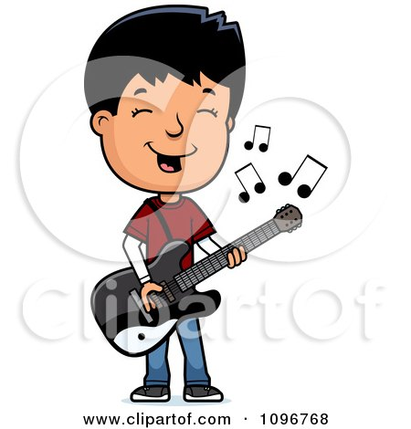 Clipart Adolescent Teenage Boy Playing A Guitar - Royalty Free Vector Illustration by Cory Thoman