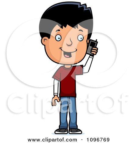 Clipart Adolescent Teenage Boy Talking On A Cell Phone - Royalty Free Vector Illustration by Cory Thoman
