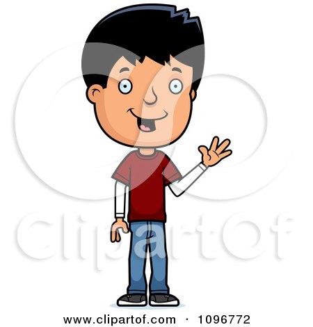 Clipart Friendly Adolescent Teenage Boy Waving - Royalty Free Vector Illustration by Cory Thoman
