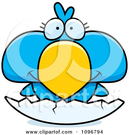 Clipart Cute Blue Bird Chick Hatching From An Egg Shell - Royalty Free Vector Illustration by Cory Thoman