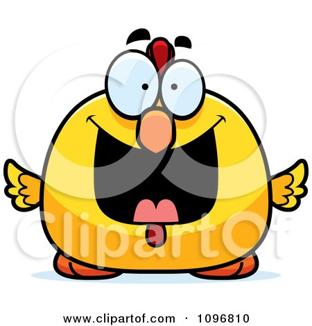 Clipart Grinning Happy Chubby Rooster Chick - Royalty Free Vector Illustration by Cory Thoman