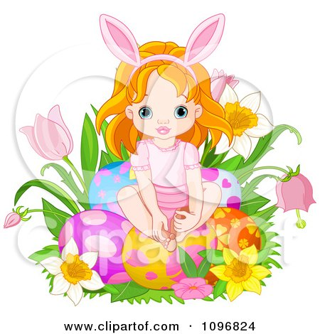 Clipart Cute Red Haired Easter Fairy Girl Sitting With Eggs In Flowers - Royalty Free Vector Illustration by Pushkin