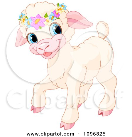 Clipart Cute Easter Lamb Wearing Flowers On Its Head - Royalty Free Vector Illustration by Pushkin