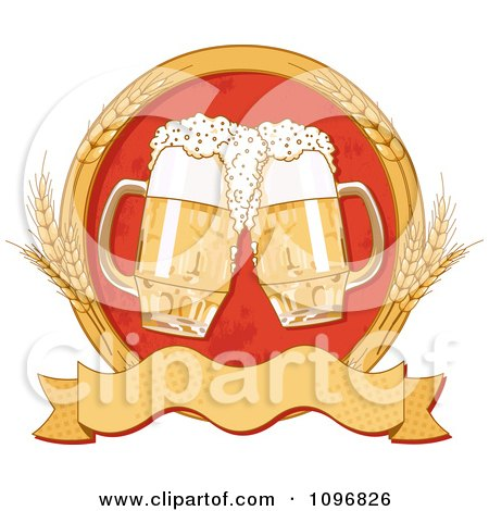 Clipart Blank Banner With Wheat Circle Around Two Beer Mugs - Royalty Free Vector Illustration by Pushkin