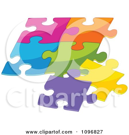 Clipart Puzzle Of Colorful Pieces Fitting Together - Royalty Free Vector Illustration by Pushkin