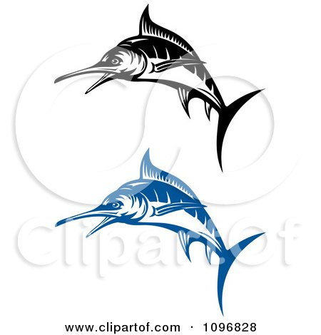 Clipart Blue And Black And White Marlin Fish - Royalty Free Vector Illustration by Vector Tradition SM