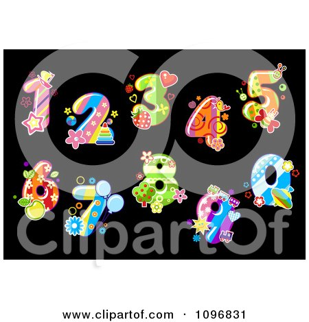 Clipart Colorful Floral Digit Numbers On Black - Royalty Free Vector Illustration by Vector Tradition SM