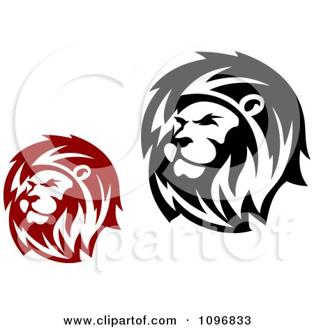 Clipart Red And Black Lion Heads - Royalty Free Vector Illustration by Vector Tradition SM