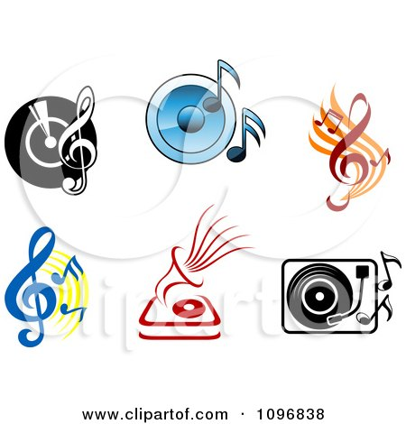 Clipart Viny Records Players Speakers And Music Notes - Royalty Free Vector Illustration by Vector Tradition SM