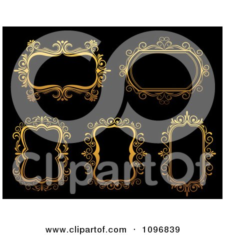 Clipart Ornate Golden Frames 3 - Royalty Free Vector Illustration by Vector Tradition SM
