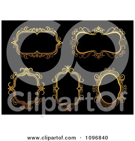 Clipart Ornate Golden Frames 4 - Royalty Free Vector Illustration by Vector Tradition SM