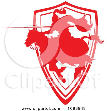 Clipart Silhouetted Red Jousting Knight Pointing His Lance Over A Shield - Royalty Free Vector Illustration by Chromaco