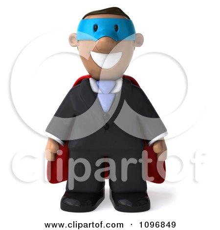 Clipart 3d Black Business Man Super Hero - Royalty Free CGI Illustration by Julos