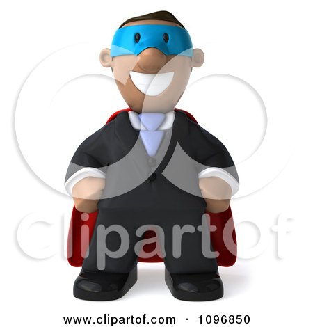 Clipart 3d Black Business Man Super Hero With Hands On His Hips - Royalty Free CGI Illustration by Julos