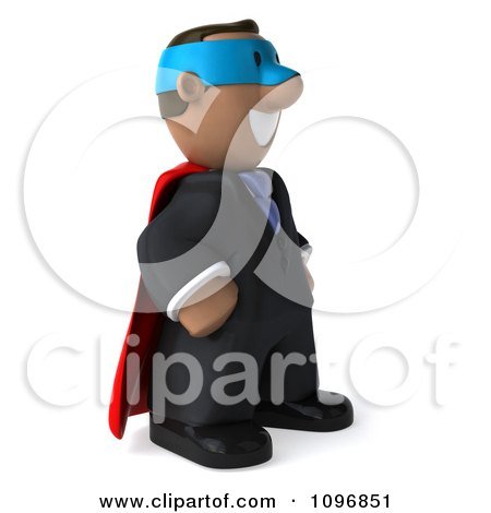 Clipart 3d Black Business Man Super Hero Facing Right - Royalty Free CGI Illustration by Julos