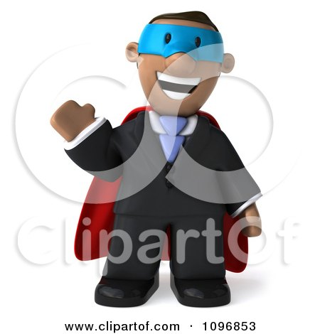 Clipart 3d Black Business Man Super Hero Waving - Royalty Free CGI Illustration by Julos