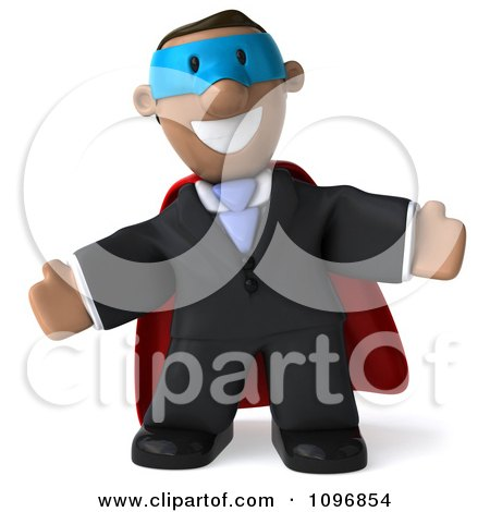 Clipart 3d Black Business Man Super Hero With Open Arms - Royalty Free CGI Illustration by Julos
