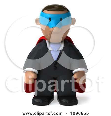 Clipart 3d Black Business Man Super Hero Pouting - Royalty Free CGI Illustration by Julos
