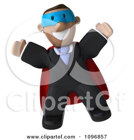 Clipart 3d Jumping Black Business Man Super Hero - Royalty Free CGI Illustration by Julos