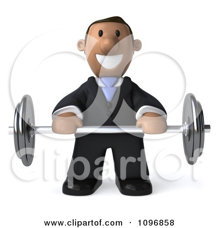 Clipart 3d Indian Businessman Holding A Barbell - Royalty Free CGI Illustration by Julos