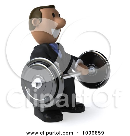Clipart 3d Indian Businessman Smiling And Holding A Barbell - Royalty Free CGI Illustration by Julos