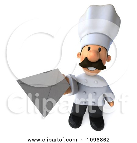 Clipart 3d Male Chef Holding Up An Envelope - Royalty Free CGI Illustration by Julos
