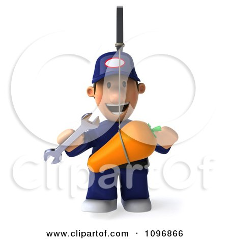 Clipart 3d Mechanic Chasing A Carrot On A Stick - Royalty Free CGI Illustration by Julos