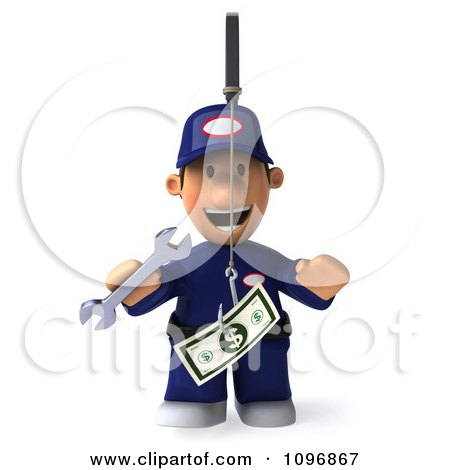 Clipart 3d Mechanic Chasing Cash On A Stick 1 - Royalty Free CGI Illustration by Julos