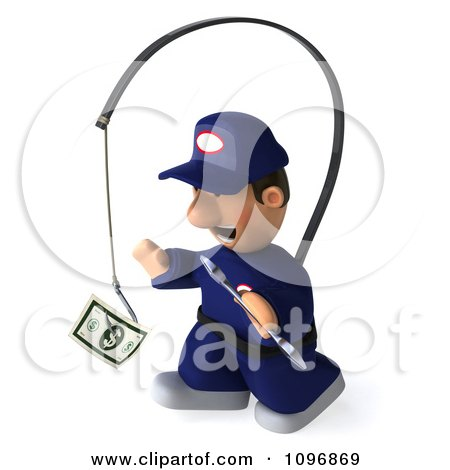 Clipart 3d Mechanic Chasing Cash On A Stick 3 - Royalty Free CGI Illustration by Julos