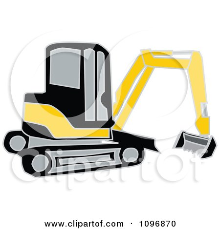 Black And Yellow Earth Mover Excavator Posters, Art Prints