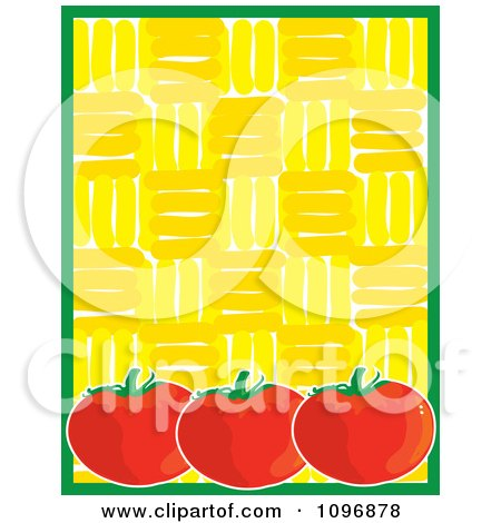 Clipart Three Plump Tomatoes With A Green Border Over A Yellow Pattern - Royalty Free Vector Illustration by Maria Bell