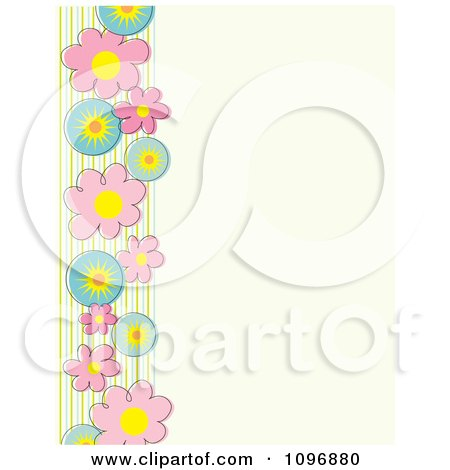 Clipart Spring Flowers And Stripes Border Over Beige Copyspace - Royalty Free Vector Illustration by Maria Bell