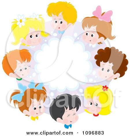 Clipart Circle Of Happy School Children And A Brainstorming Cloud - Royalty Free Vector Illustration by Alex Bannykh