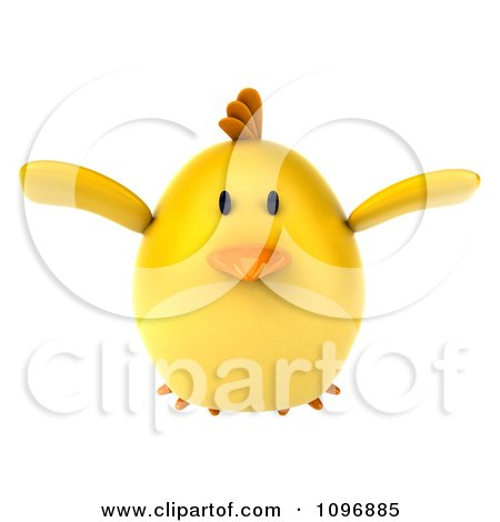 Clipart 3d Chubby Yellow Bird Chicken Flying - Royalty Free CGI Illustration by Julos