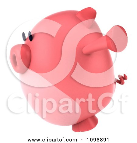 Clipart 3d Chubby Pig Jumping 2 - Royalty Free CGI Illustration by Julos