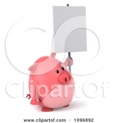 Clipart 3d Chubby Pig Holding A Sign - Royalty Free CGI Illustration by Julos