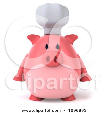 Clipart 3d Chubby Pig Chef Facing Front - Royalty Free CGI Illustration by Julos