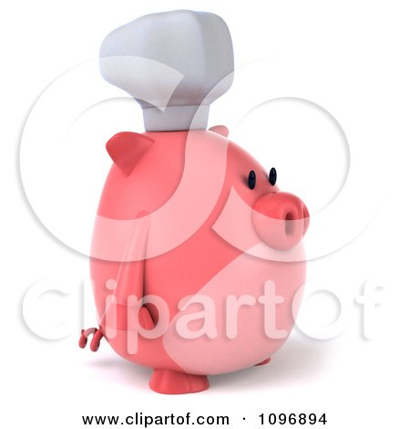 Clipart 3d Chubby Pig Chef Facing Right - Royalty Free CGI Illustration by Julos