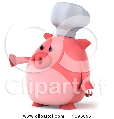 Clipart 3d Chubby Pig Chef Pointing Left - Royalty Free CGI Illustration by Julos