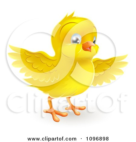Clipart Happy Cute Yellow Easter Chick Flapping Its Wings - Royalty Free Vector Illustration by AtStockIllustration