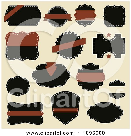 Clipart Brown And Black Sewn Label Design Elements On Beige - Royalty Free Vector Illustration by vectorace