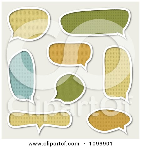 Clipart Patterned And White Outlined Speech Bubbles On Off White - Royalty Free Vector Illustration by vectorace