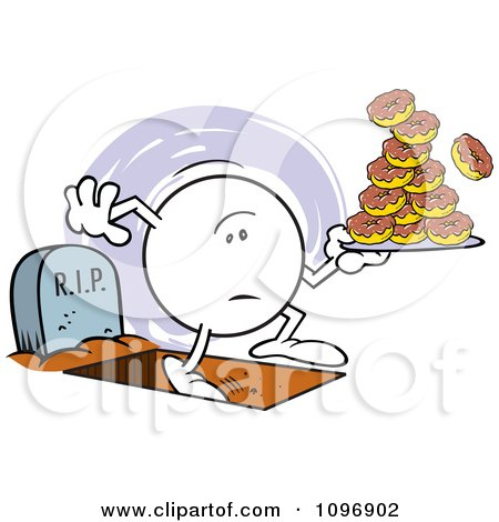 Clipart Moodie Character With One Foot In The Grave And A Plate Of Donuts - Royalty Free Vector Illustration by Johnny Sajem