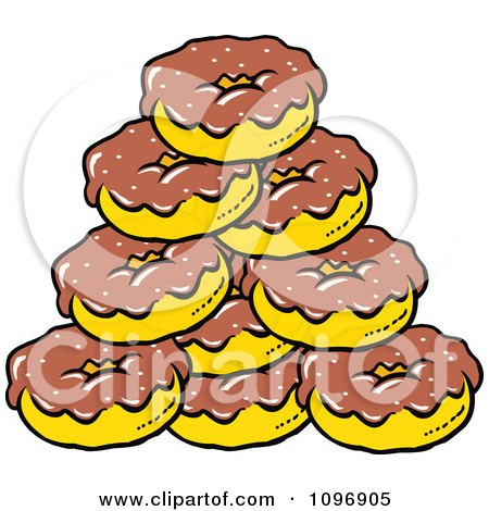 Clipart Pile Of Chocolate Frosted Donuts - Royalty Free Vector Illustration by Johnny Sajem