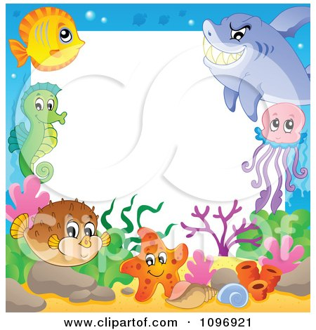 Clipart Frame Of Cute Sea Creatures - Royalty Free Vector Illustration by visekart