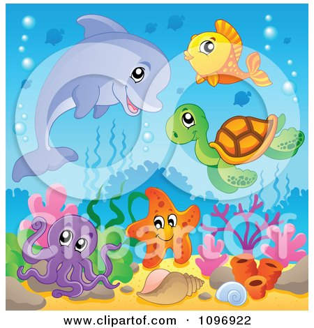 Clipart Dolphin And Cute Sea Creatures Over Corals - Royalty Free Vector Illustration by visekart