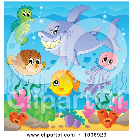 Clipart Shark And Cute Sea Creatures Over Corals - Royalty Free Vector Illustration by visekart